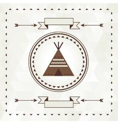 Ethnic background with wigwam in navajo design vector