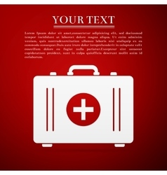 First aid box flat icon on red background Adobe vector image vector image