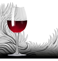 Glass of red wine on the floral backgound vector image
