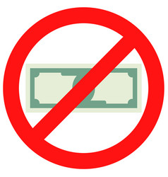 prohibition of cash vector image