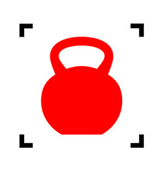 fitness dumbbell sign red icon inside vector image