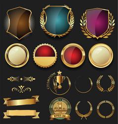golden shield laurel wreath and badge retro vector image vector image