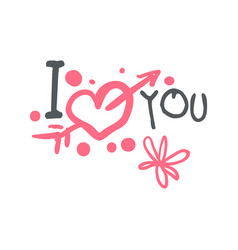 I love you logo template colorful hand drawn vector