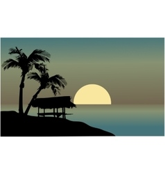 Landscape hut in beach vector image vector image