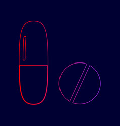 medical pills sign line icon with vector image