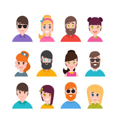 people avatars collection simple flat cartoon vector image vector image