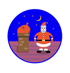 santa claus with bag of gifts sits in a chimney on vector image vector image