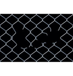 Seamless damaged chain-link fence vector image vector image