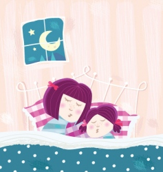 sleeping mother and child vector image vector image