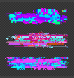 abstract glitch design elements set vector image