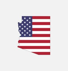Arizona map on american flag vector