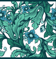 Blue-green floral seamless pattern with flowers vector