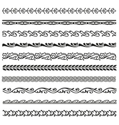 border lines ornamental vinage set vector image