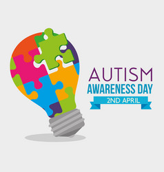 Bulb idea puzzles to autism day vector