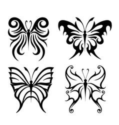 Butterfly black animal insect silhouettes vector