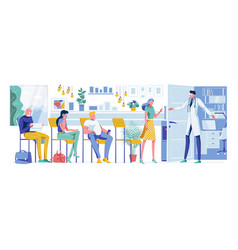 Cartoon patients waiting for doctor appointment vector