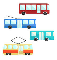 City public transport set bus trolley and tram vector