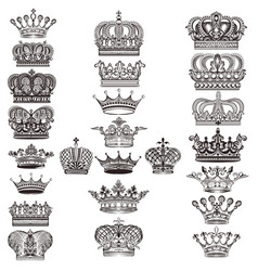 Collection of royal crowns for design vector