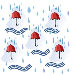 Colorfull seamless background with red umbrellas vector image
