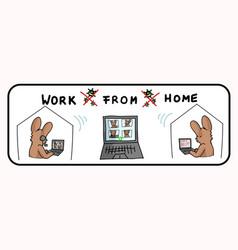 Corona virus crisis work from home banner poster vector