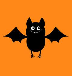 Cut bat happy halloween flying animal cartoon vector