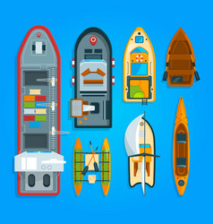 different sea boats and ships vector image