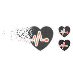 Dispersed dotted halftone heart pulse icon vector