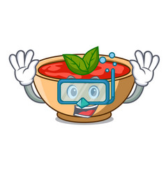 Diving tomato soup character cartoon vector