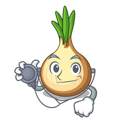 Doctor character fresh yellow onion on table vector