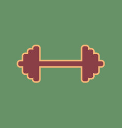 Dumbbell weights sign cordovan icon and vector