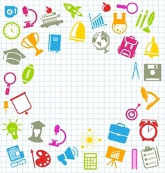 Education Flat Colorful Simple Icons vector