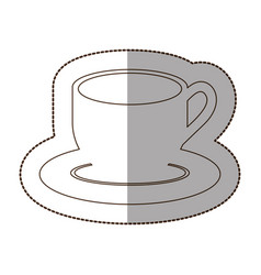 Figure coffee cup and plate icon vector