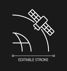 geostationary satellite white linear icon vector image