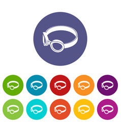 glasses welding mask icons set color vector image