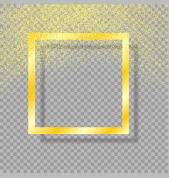 gold frame with shadow gold dust gold glitter vector image