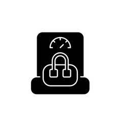 Hand baggage weight black glyph icon vector