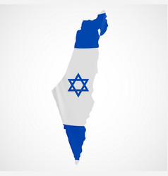 Hanging israel flag in form of map state of vector