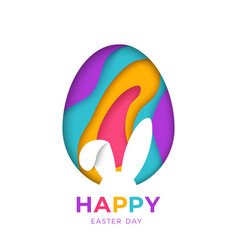 Happy easter greeting card with abstract paper cut vector
