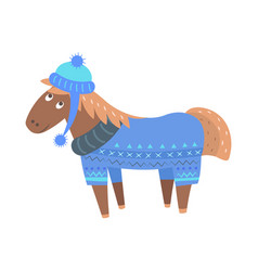 Happy horse in sweater and hat vector