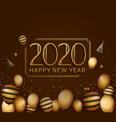 Happy new year 2020 golden color with balloons vector