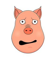 head of afraid pig in cartoon style kawaii animal vector image