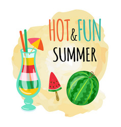 Hot and fun summer watermelon and ice cocktails vector