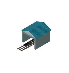 Isolated railroad stop isometric depot vector