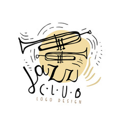 jazz club logo design vintage music label with vector image