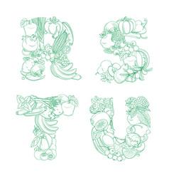 Letters r s t u pattern logo farm fresh fruits vector