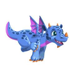 little cartoon blue flying dragon friendly vector image