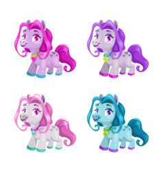 Little cute cartoon horses set pony princess toys vector