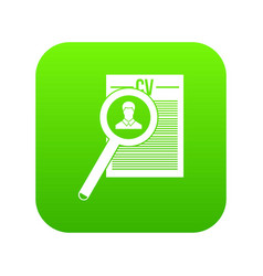 magnifying glass over curriculum vita icon digital vector image