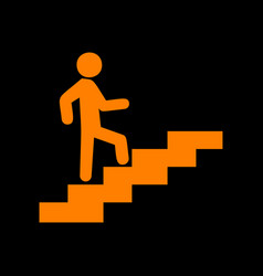 man on stairs going up orange icon on black vector image
