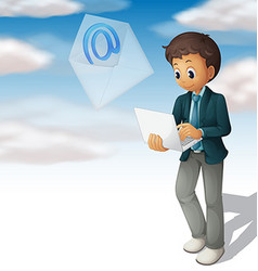 Man sending mail from computer laptop vector
